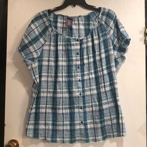Laura Scott Peasant style plaid  Shirt size 2X